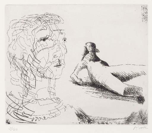 Head of Girl and reclining Figure by Henry Moore (1898-1986, United Kingdom) | Museum Quality Reproductions | ArtsDot.com