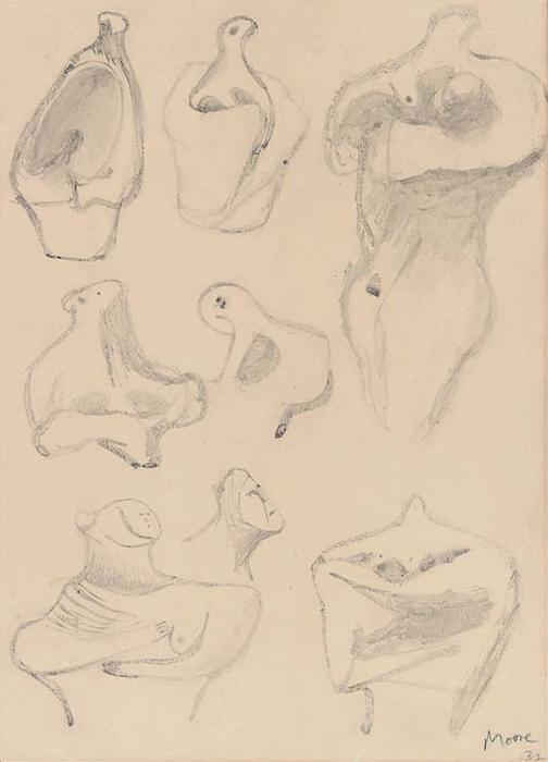 Ideas for Sculpture 1, Oil by Henry Moore (1898-1986, United Kingdom)