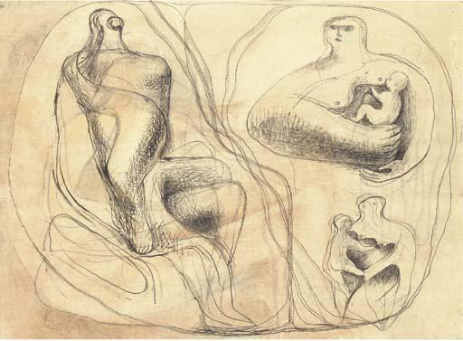 Ideas for Sculpture 2, Drawing by Henry Moore (1898-1986, United Kingdom)