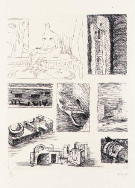 Ideas for Sculpture 4, Watercolour by Henry Moore (1898-1986, United Kingdom)