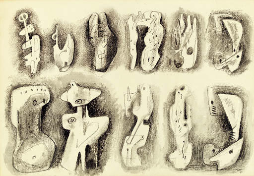 Ideas for Sculpture 5, Illustration by Henry Moore (1898-1986, United Kingdom)