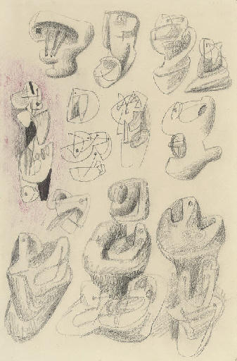 Ideas for sculpture, Engraving by Henry Moore (1898-1986, United Kingdom)