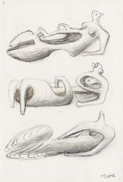 Ideas for Sculpture; Three Reclining Figures by Henry Moore (1898-1986, United Kingdom) | Art Reproduction | ArtsDot.com