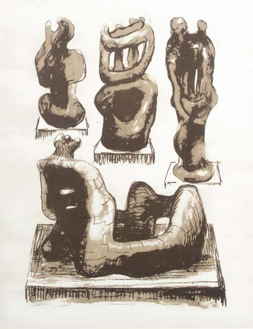 Ideas for Wood Sculpture, Oil by Henry Moore (1898-1986, United Kingdom)