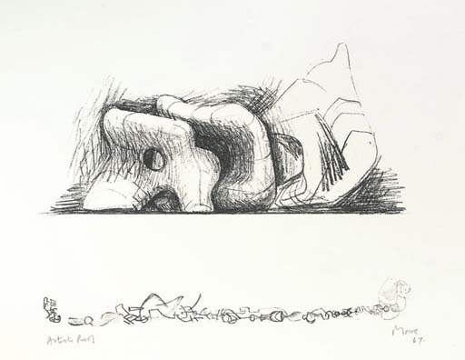 Large Reclining Figure and Small Motifs, Drawing by Henry Moore (1898-1986, United Kingdom)
