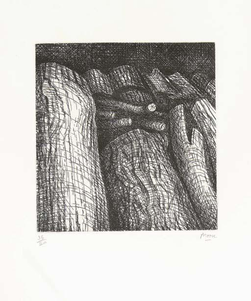 Log Pile I, Oil by Henry Moore (1898-1986, United Kingdom)