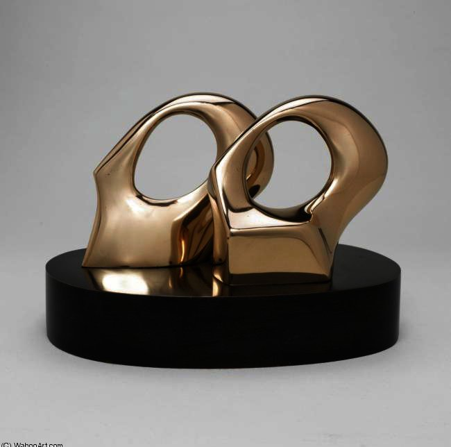 Maquette For Double Oval, Illustration by Henry Moore (1898-1986, United Kingdom)