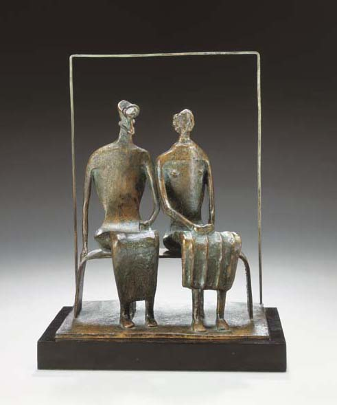 Maquette for King and Queen, Oil by Henry Moore (1898-1986, United Kingdom)