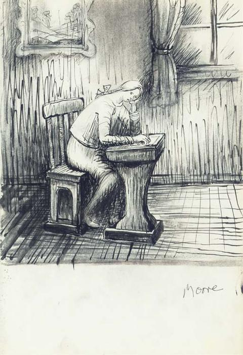 Mary doing Homework, Oil by Henry Moore (1898-1986, United Kingdom)