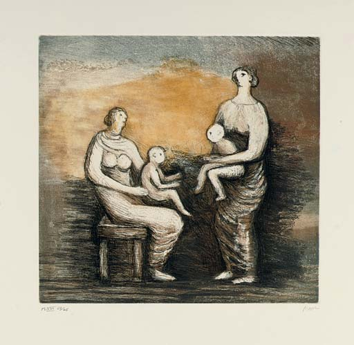 Mother and Child, Oil by Henry Moore (1898-1986, United Kingdom)