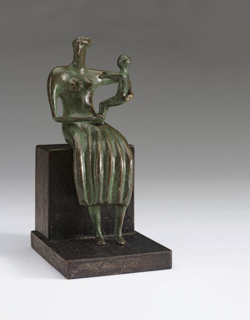 Mother and Child; Uncrossed Feet, Oil by Henry Moore (1898-1986, United Kingdom)