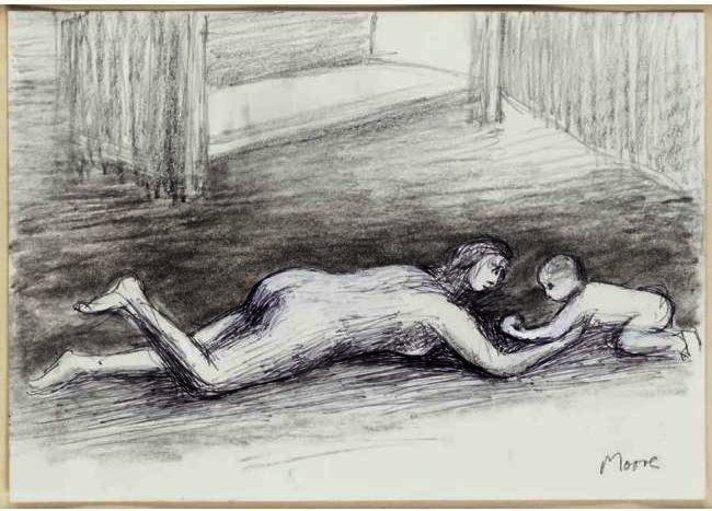 Mother Playing With Child On Floor I, Drawing by Henry Moore (1898-1986, United Kingdom)