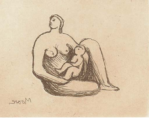 Plate 2, from Mother and Child, Oil by Henry Moore (1898-1986, United Kingdom)