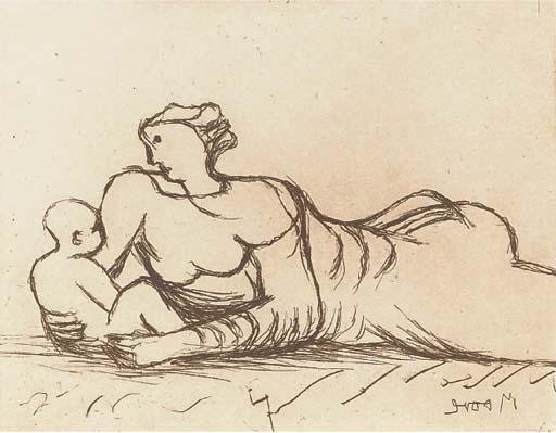 Plate 6, from Mother and Child by Henry Moore (1898-1986, United Kingdom) | Art Reproduction | ArtsDot.com