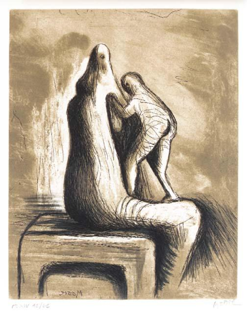 Plate XIV, from Mother and Child, Oil by Henry Moore (1898-1986, United Kingdom)