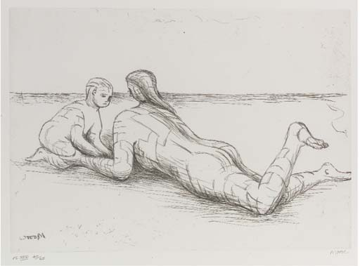 Plate XIX, from Mother and Child, Engraving by Henry Moore (1898-1986, United Kingdom)