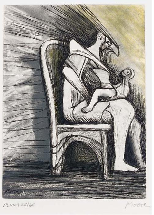 Plate XVIII, from Mother and Child, Illustration by Henry Moore (1898-1986, United Kingdom)