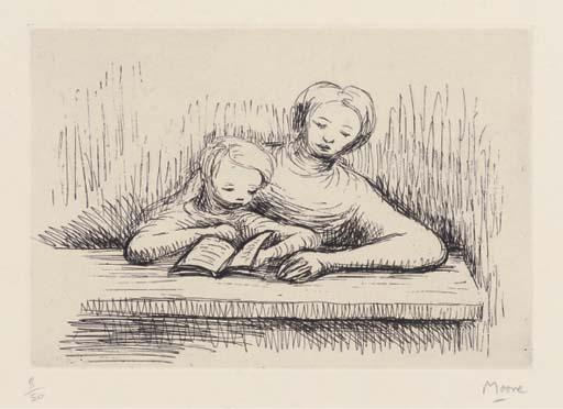 Reading Lesson, Drawing by Henry Moore (1898-1986, United Kingdom)