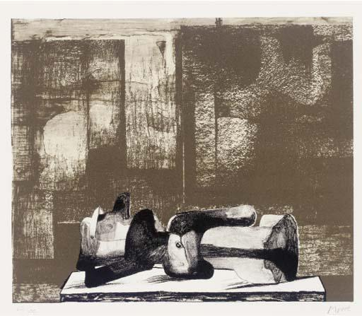 Reclining Figure - Architectural Background IV, Engraving by Henry Moore (1898-1986, United Kingdom)