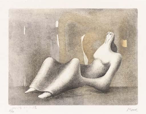 Reclining Figure - Dawn, Oil by Henry Moore (1898-1986, United Kingdom)