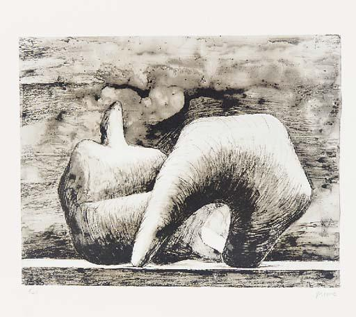 Reclining Figure 10, Drawing by Henry Moore (1898-1986, United Kingdom)