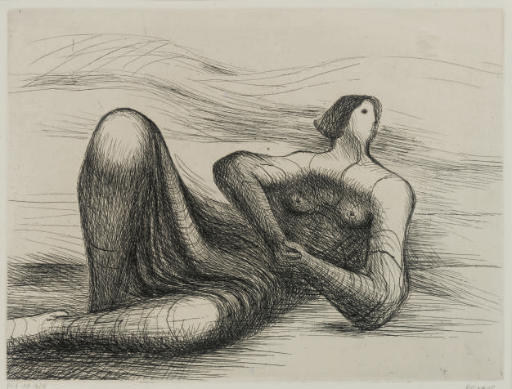 Reclining Figure 6, Oil by Henry Moore (1898-1986, United Kingdom)