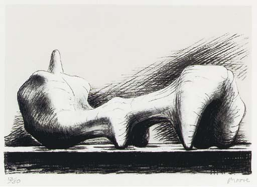 Reclining Figure 7, Oil by Henry Moore (1898-1986, United Kingdom)