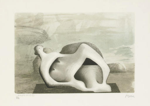 Reclining Figure Against Sea and Rocks, Oil by Henry Moore (1898-1986, United Kingdom)