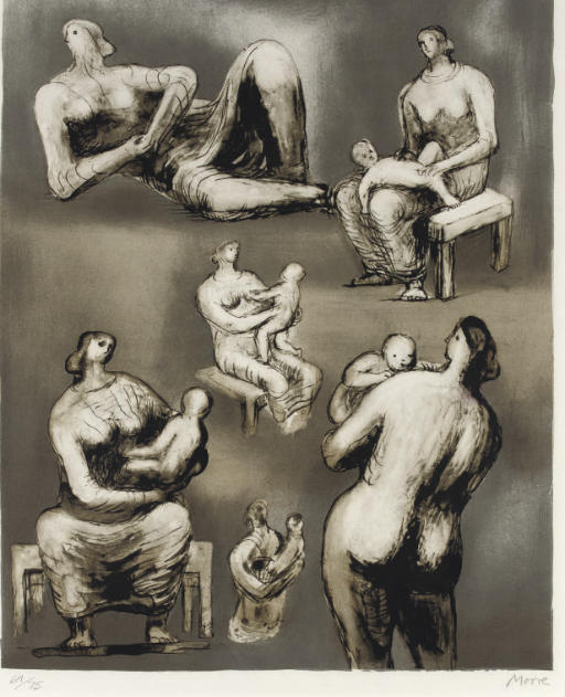 Reclining Figure and Mother and Child Studies, Engraving by Henry Moore (1898-1986, United Kingdom)