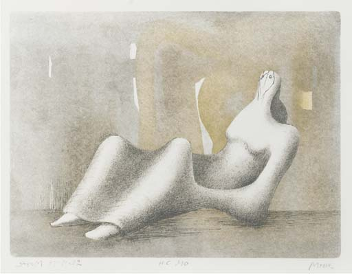 Reclining Figure Dawn, Oil by Henry Moore (1898-1986, United Kingdom)