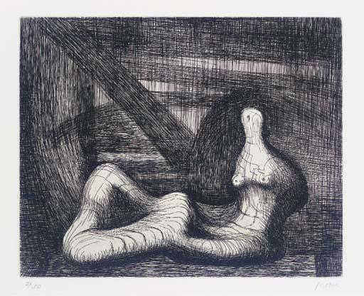 Reclining Figure Piranesi Background III, Engraving by Henry Moore (1898-1986, United Kingdom)