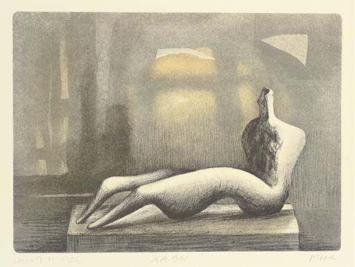 Reclining Figure Sunset, Oil by Henry Moore (1898-1986, United Kingdom)