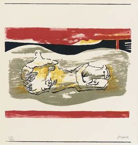 Henry Moore - Reclining figure with red Stri..