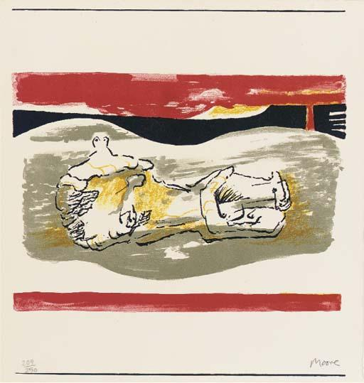 Reclining figure with red Stripes by Henry Moore (1898-1986, United Kingdom) | Painting Copy | ArtsDot.com