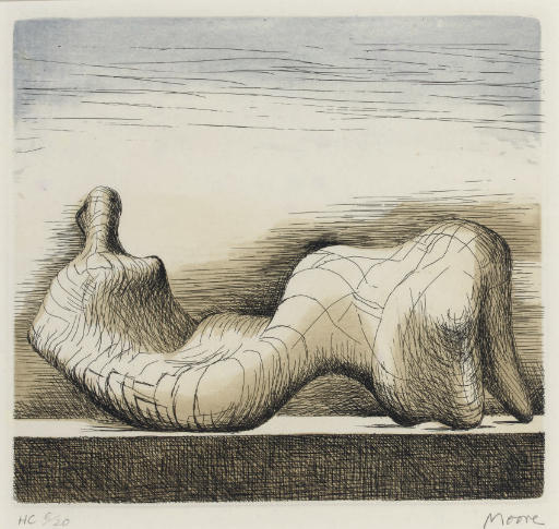 Reclining Figure, Oil by Henry Moore (1898-1986, United Kingdom)