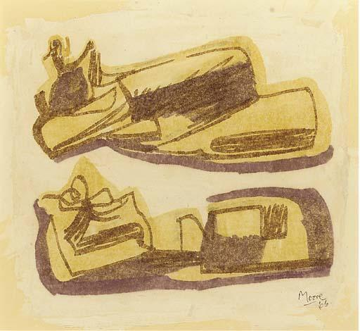 Reclining Figures 1, Oil by Henry Moore (1898-1986, United Kingdom)