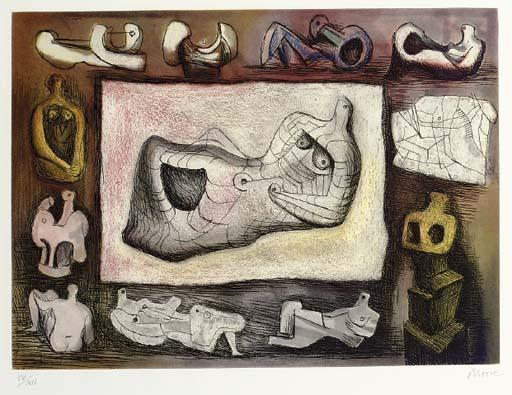 Sculptural Ideal 5 by Henry Moore (1898-1986, United Kingdom) | Oil Painting | ArtsDot.com