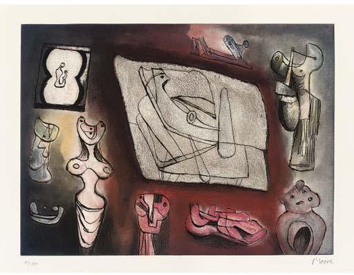 Sculptural Ideas 7, Engraving by Henry Moore (1898-1986, United Kingdom)