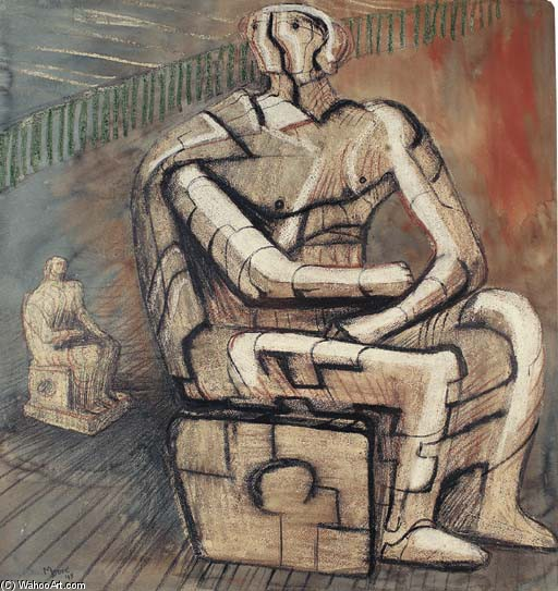 Seated Figure 1, Oil by Henry Moore (1898-1986, United Kingdom)