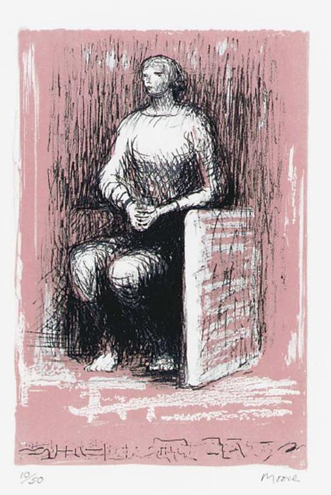 Seated Figure 2 by Henry Moore (1898-1986, United Kingdom) | Oil Painting | ArtsDot.com