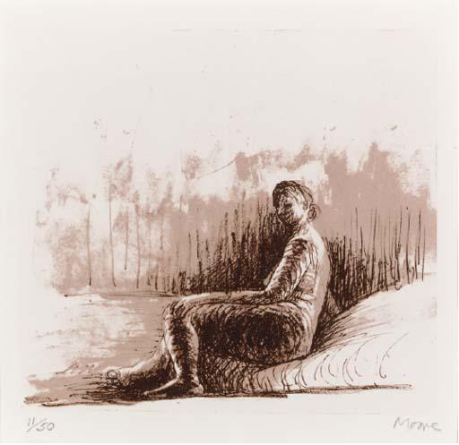Seated Figure 3, Drawing by Henry Moore (1898-1986, United Kingdom)