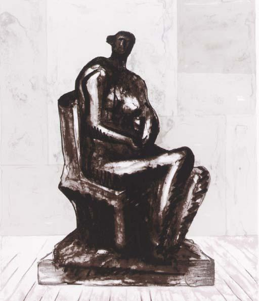 Seated Figure 4 by Henry Moore (1898-1986, United Kingdom) | Museum Quality Reproductions | ArtsDot.com