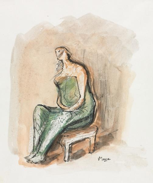 Seated Figure 5, Oil by Henry Moore (1898-1986, United Kingdom)