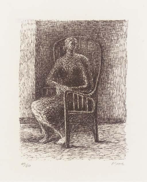 Seated Figure V Wickerwork Chair, Oil by Henry Moore (1898-1986, United Kingdom)