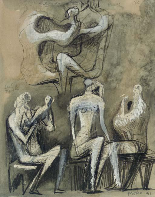 Seated Figures 1, Oil by Henry Moore (1898-1986, United Kingdom)