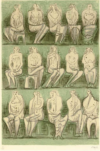 Seated Figures 2, Oil by Henry Moore (1898-1986, United Kingdom)