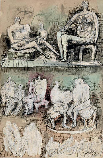 Seated Figures, Engraving by Henry Moore (1898-1986, United Kingdom)