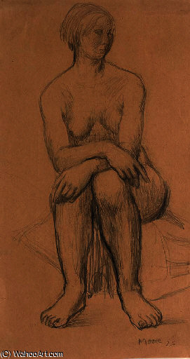 Seated Girl 1, Illustration by Henry Moore  (buy Fine Art Art reproduction Henry Moore)