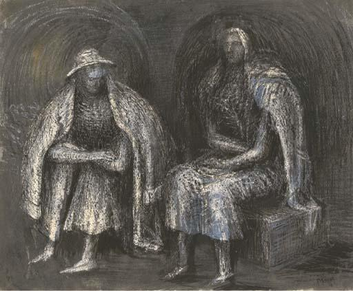 Seated Shelter Figures, Oil by Henry Moore (1898-1986, United Kingdom)
