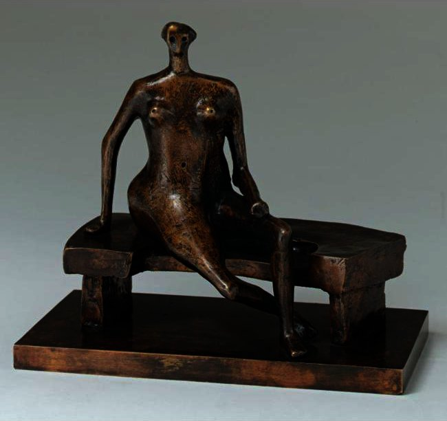 Seated Woman With Crossed Feet, Illustration by Henry Moore (1898-1986, United Kingdom)